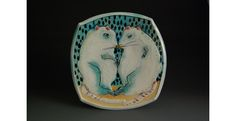 """Rats in Love dinner plate, Cone 6 porcelain, thrown, altered and electric fired, 1""""x 9""""x 9"""", 2010"""