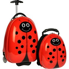 TrendyKid Travel Buddies Ladybug Luggage Set ($76) ❤ liked on Polyvore featuring bags, luggage, kids' luggage and red