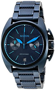 Nixon Men's A9302224 Anthem Chrono Analog Display Swiss Quartz Blue Watch >>> Visit the image link more details.