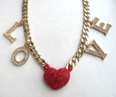 L O V E Gold Tone Crystal Heart & Letters Statement Necklace Red Pave Crystal Heart Gold Tone Cuban Chain Women's Necklace Jewelry