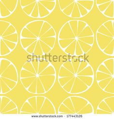 seamless pattern ,lemon background with yellow and white elements, geometric design, illustration by Anna Tseluba, via Shutterstock