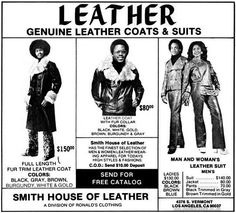 These small black and white ads for Smith House Of Leather date from 1972-76 and feature some slightly awkward models.