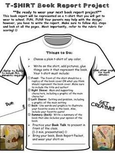 This engaging book report project includes: **Tshirt project directions sheet with visual examples **detailed project planning/outline sheet**Tshirt Sketch sheet**Project RUBRIC Sheet Más Rubrics For Projects, Book Report Projects, Reading Projects, Reading Lessons, Book Projects, Teaching Reading, Project Rubric, Kids Reading, Learning