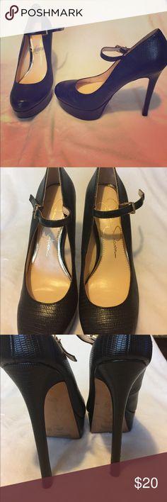 Jessica Simpson black Mary Jane stilettos Black embossed leather with platform front Mary Jane stilettos Jessica Simpson Shoes Heels