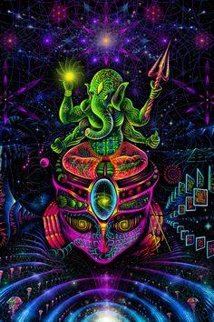 UV Backdrop Ganesha 89 x Wall Hanging Psychedelic Psy Art Tapestry Banner Trippy Wallpaper, Psychedelic Art, Black Light Posters, Psy Art, Hippie Art, Visionary Art, Fractal Art, Ganesha, Fractals