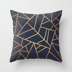 Copper and Midnight Navy Throw Pillow by Elisabeth Fredriksson | Society6