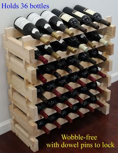 Hand made solid pine wood modular wine rack. Our stackable modular wine racks are the most versatile and can be easily assembled. No tool is required, takes only 5 minutes. (wine bottles shown in the pictures are not included). Unique Wine Racks, Wood Wine Racks, Wine Rack Inspiration, Stackable Wine Racks, Wine Rack Design, Wine Rack Plans, Wine Rack Storage, Bottle Rack, Bottle Stoppers
