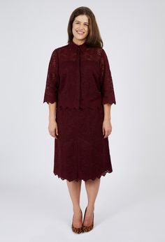 Anna Scholz Plus Size Wine Scallop Lace Shirt
