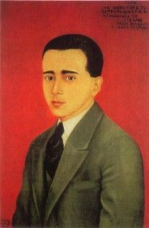 Frida Kalho. Retrato de Alejandro Gómez arias, 1928. Óleo sobre madera 61,5 x 41 cm.  Colección privada, México.