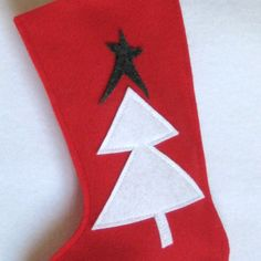 Yule Tree Christmas Stocking  Eco Friendly Felt by stitcholicious, $17.00