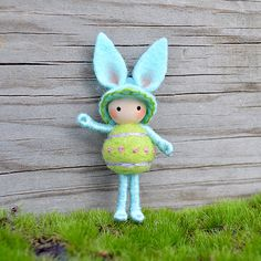 Important- This is a pre-order item. It will ship 5-7 days after purchase. See styles for available options.  This is an adorable Bunny . This Bunny is just over 2 inches tall. This little Bunny is bendable and poseable! It can wrap its arms or legs around an object and actually hold on! It will not stand alone. However I do sell stands in my shop, but they are not necessary. This sweet little Bunny is made of a wire core covered in cotton floss. It has cute round needle felted belly made of…