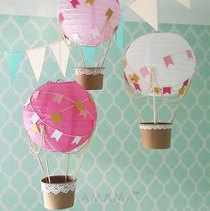 Whimsical Hot Air Balloon decoration DIY Kit - hot pink and gold - nursery decor - travel theme nursery - set of 3 by mamamaonline on Etsy https://www.etsy.com/listing/238403666/whimsical-hot-air-balloon-decoration-diy