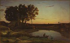 Landscape with Lake and Boatman, Jean-Baptiste Camille Corot, 1839, olio su tela, Getty Museum, Los Angeles, Stati Uniti.