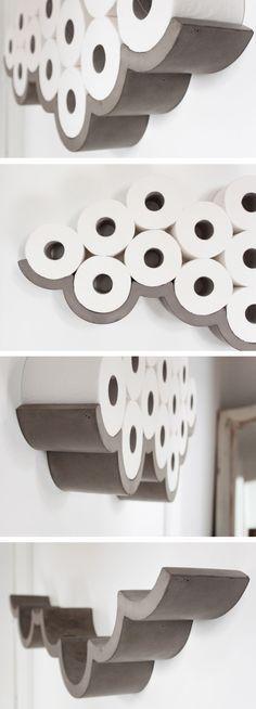 #stylish und nützlich - die perfekte Kombi für das #Badezimmer. 21Feb2015 Awesome Products: Cloud concrete toilet roll holder categories: Awesome Products, Design