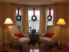 Bay window decorated for Christmas