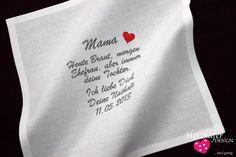 HOCHZEIT ♥ Besticktes Taschentuch ♥ Freudentränen von Herzkäfer WEDDiNG auf DaWanda.com