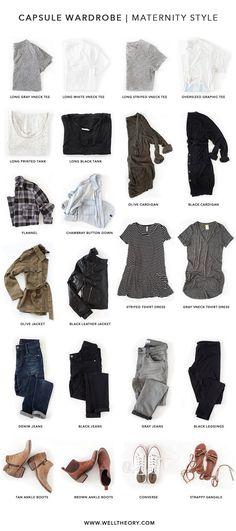 Capsule Wardrobe Maternity Style   Well Theory Minimalistischer  Kleiderschrank, Garderobe Ideen, Anziehen, Kleidung ef543ef9c59