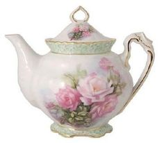 Pink Rose Hand Painted Teapot