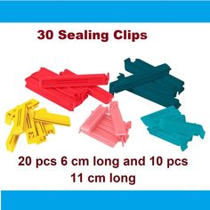 Set of assorted colours mixed colours, mixed sizes assorted sizes. Sizes: 20 pcs 6 cm long and 10 pcs 11 cm long. Car Signs, Polypropylene Plastic, Food Storage, Color Mixing, Coffee Shop, Sydney, Garland, Adhesive, Magnets