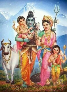 Hindu god print of shree Shiva Parwati Bal Ganesha Rare Vintage Old Print. Shiva Parvati Images, Shiva Hindu, Shiva Art, Shiva Shakti, Hindu Deities, Hindu Art, Kali Yantra, Krishna Images, Lord Shiva Pics