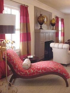 This is fun! Great horizontal striped curtains in fabulous pinks! Love the Stray Dog Lamp and that fun chaise lounge!