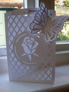 ROSE TRELLIS CARD with Butterfly on Craftsuprint designed by Clive Couter - silhouette studio files; rose trellis card with butterfly and optional backing plate (not shown) - Now available for download!