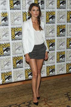 white top, white blazer, dress shorts