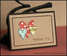 Courtney Kelley - hearts thanks. Simply posted on FB. The Handmade Heifer Thank U Cards, Love Cards, Fabric Cards, Paper Cards, Tarjetas Diy, Thank You Card Design, Greeting Cards Handmade, Handmade Thank You Cards, Creative Cards