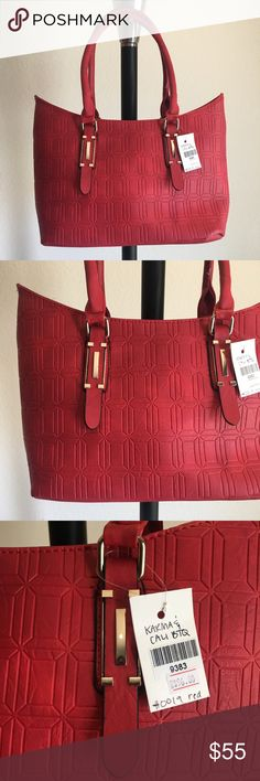 """👜 Red Ruby handbag / purse 🔥Brand New Boutique Item handbag (brand new with tags) ONLY 1 of this color and style available! By Karma & Cali Boutique 👜 -Color: red colored handbag with gold hardware, textured print, and optional cross body strap -Dimensions: 15"""" length, 11"""" height, 7"""" width, 7.5"""" strap drop -Details: 2 interior pouches, 1 zippered pocket + bonus bag (free)  -Materials: soft animal friendly VEGAN LEATHER, easy to clean, creases iron out with use, *cannot be restocked Karma…"""