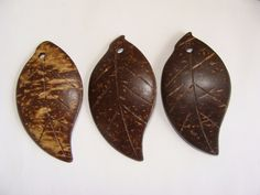 Coconut Shell Leaf Pendant - Large Wood Seed Nut Carved Curved Chocolate Brown Big Long Boho Natural Wooden Bur (2.00 USD) by BeadYourself