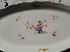 Free Ship. Antique 1930's Porcelain French Dish White Pink and Blue Floral Serving Tray Signed FD Chauvigny #sophieladydeparis
