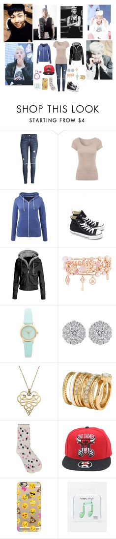 """""""A DAY WITH RAPMON"""" by tkyle134 ❤ liked on Polyvore featuring H&M, Converse, Henri Bendel, Just Cavalli, M&Co, Casetify, Happy Plugs and PhunkeeTree"""