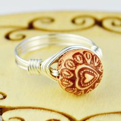 Buyerstops Brown Heart Bead and Sterling Silver or Gold Filled Wire Wrapped Ring- Custom made to size 4 - Wire Wrapped Rings, Acrylic Beads, Beads And Wire, Antique Rings, Statement Rings, Or Rose, Wire Wrapping, Gifts For Women, Sterling Silver Rings