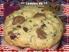 Cookies 115 g de beurre mou 220 g de farine 1 oeuf 180 g de sucre roux (cassonade) => trop sucré, je baisse à 150g 2 c. à soupe de sucre 1/2 c. à café de sel 1 c. à café d'extrait de vanille 200 g de pépites de chocolat