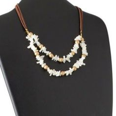 Mother of Pearl Shell Brass and Brown Faux Suede Double Cord Handmade Necklace | eBay