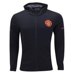 adidas Manchester United Full Zip Squad Hoodie (Black/Red)