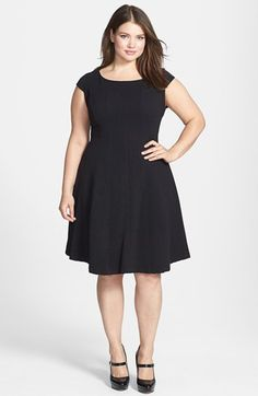 65c6e61a8e0 Taylor Dresses Textured Knit Fit  amp  Flare Dress (Plus Size) available at