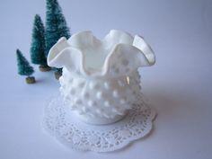 Small Vintage Fenton Milk Glass Hobnail Vase by mymilkglassshop, $12.50