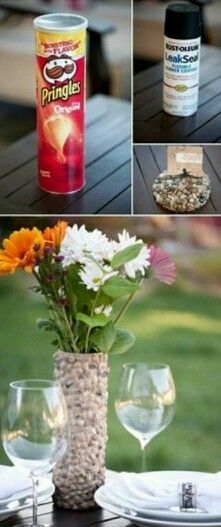Next time when the chips are all gone instead of throwing the empty can in the trash you might want to try doing this & fill it up with some nice flowers for a simple centerpiece...