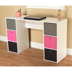 Student Writing Desk with 6 Fabric Bins, Pink/Black/Gray
