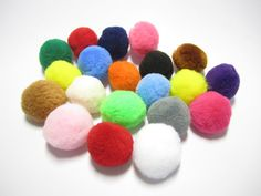 Pompoms  20 pcs. assorted pom poms for craft by TintinBeads
