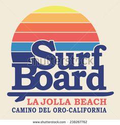 Surf sport typography, t-shirt graphics, vectors - stock vector