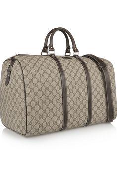Gucci|Joy Travel medium leather-trimmed coated canvas weekend bag|NET-A-PORTER.COM