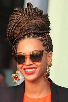 Bun with box braids