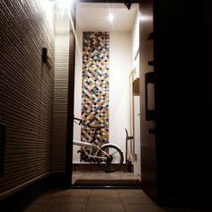 noonoさんの、コラベル,名古屋モザイクタイル,タイル,スケボー,自転車,ポスト,ニトリ,無印良品,玄関,玄関/入り口,のお部屋写真
