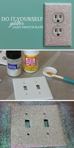 Check out how to make an easy DIY Glitter Light Sw. Check out how to make an easy DIY Glitter Light Switch Plate Industry Standard Design More on good ideas and DIY Light Switch Plates, Light Switch Covers, Light Switch Art, Switch Plate Covers, Glitter Light Switches, Diy Lampe, Ideias Diy, Teen Girl Bedrooms, Teen Rooms