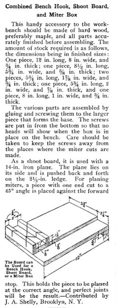 Combined bench hook, shooting board and miter box. Popular Mechanics, circa Nov. 1915, page 777