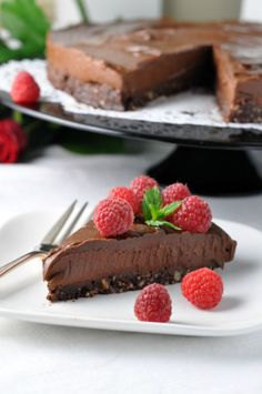 Double Chocolate Mousse Torte. Decadent, delicious, dairy-free, gluten-free and vegan! An easy, no-bake recipe, naturally sweetened with maple syrup. #vegan #paleo #chocolate #mousse #dessert #avocado #no_bake #gluten_free