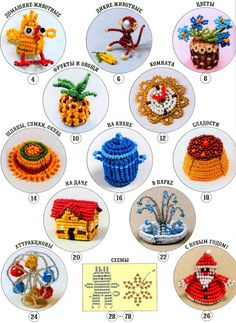 120 3D Beaded Objects PATTERNS pineapple, cakes, train, airplane, slide, swing set, wagon, teapot, frying pan, animals +++ ,,, Perfect for a doll house