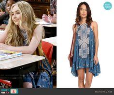 Maya's blue printed dress on Girl Meets World.  Outfit Details: https://wornontv.net/58120/ #GirlMeetsWorld  Buy it here: http://wornon.tv/36464